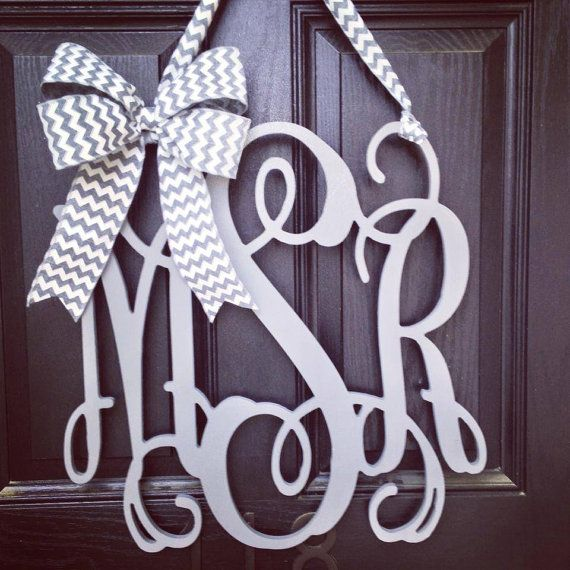 20 inch 3 letter wooden front door monogram with bow // gray monogram wreath // gray and white chevron bow on Etsy, $95.00