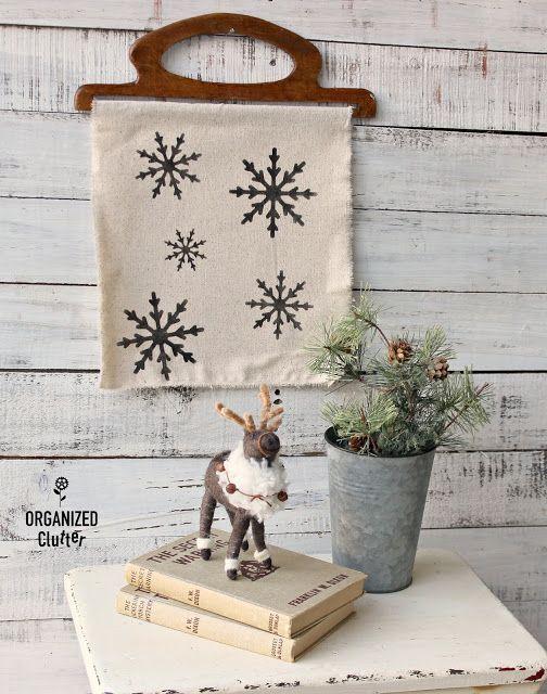 Easy Stenciled Snowflake DIY Decor Winter Decorating Ideas