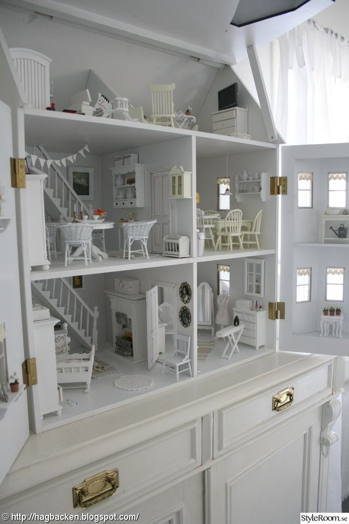 How neat! Shabby chic white dollhouse! | repinned by PeachSkinSheets.com