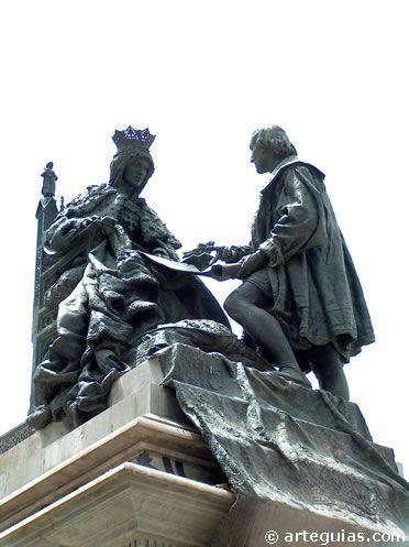 Estatua dedicada a Isabel la Católica. Conmemora el momento en el que la reina conoce a Cristobal Colón. Fue realizada en 1862, en pleno apogeo de realismo artístico.