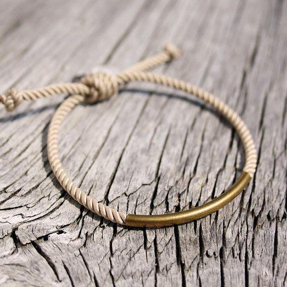 Nautical sailors waterproof brass bracelet - The Duncan Bracelet in beige