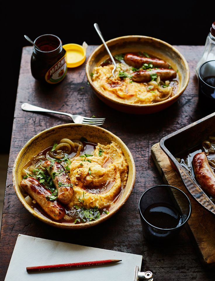 Our wonderfully warming sausages and marmite mash makes a fab weekend tea