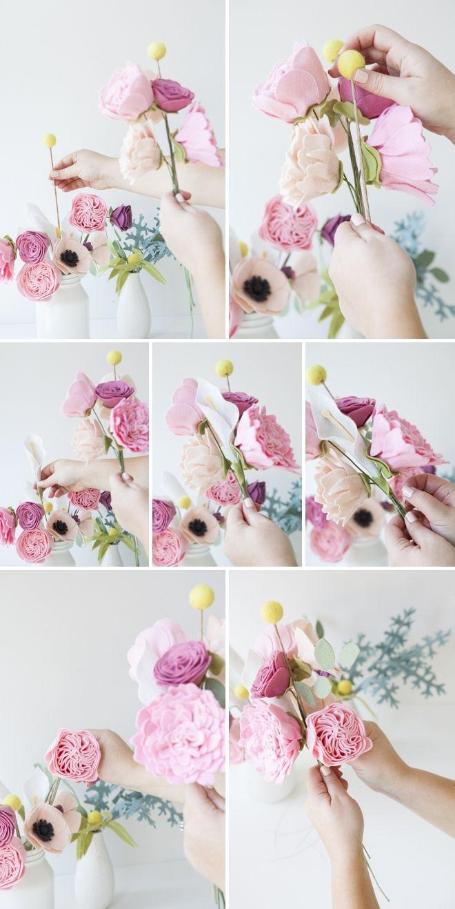 Si tienes espíritu creativo y te encantan las manualidades seguro que para el día de tu boda te encanta este ramo de novia DIY con flores de fieltro.