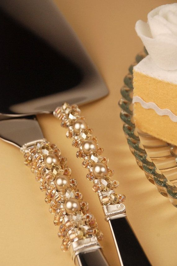 Champagne wedding cake server and knife set by TheVintageWedding, $64.99
