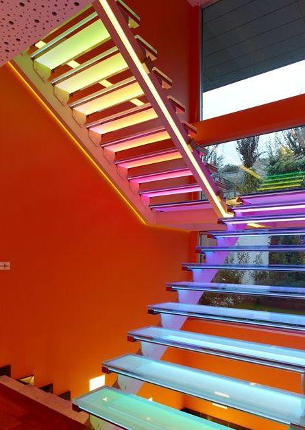 Tiras de led en escaleras:
