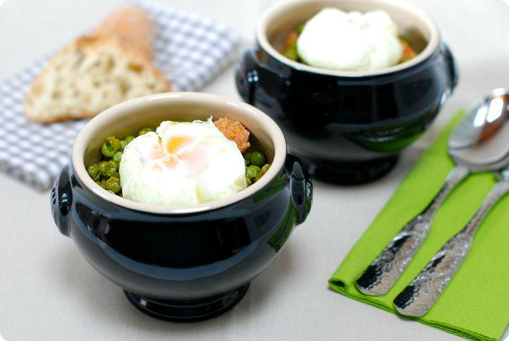guisantes con huevos poch con thermomix velocidad cuchara primeros pinterest plato. Black Bedroom Furniture Sets. Home Design Ideas