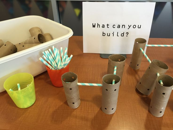 Homemade tinker toys in the library - No budget? Use toilet paper or paper towel tubes and straws to make your own building components for a library center!