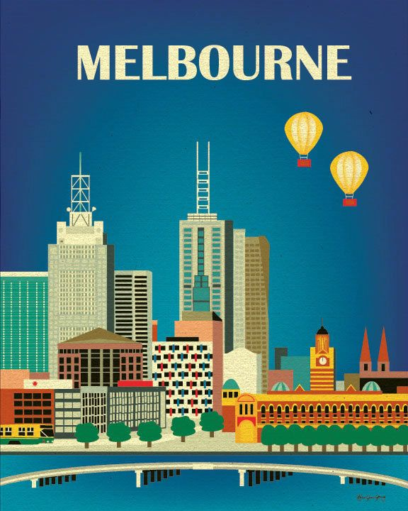 Melbourne, Australia Syline - 8 x 10 City Wall Art Poster Print for Home, Office, and Nursery - style E8-O-MEL. $19.99, via Etsy.