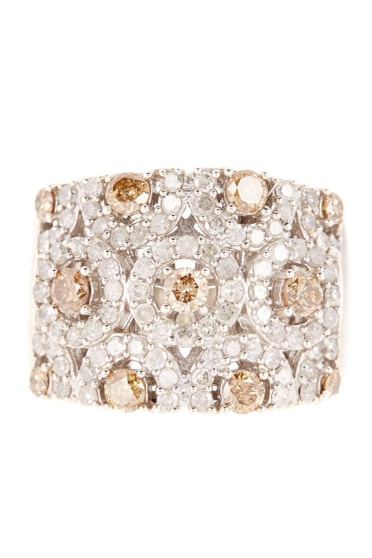 White & Champagne Diamond Circle Ring - 1.50 ctw