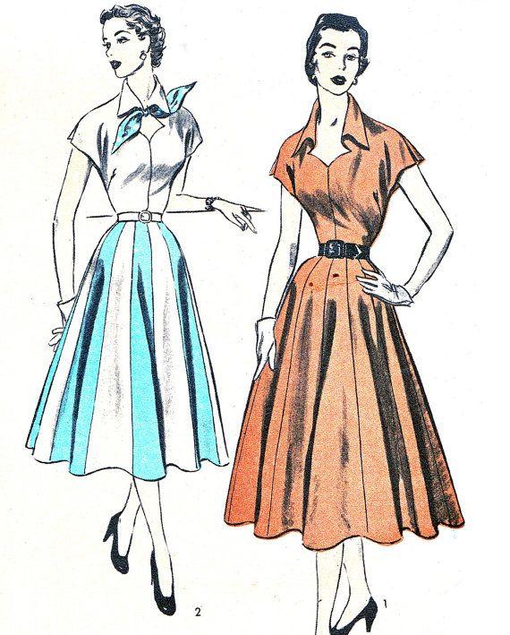 1950s Dress Pattern Advance 6327 Kimono Sleeve Full by paneenjerez, $30.00