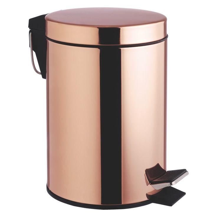 COLLIER Copper metal peddle bathroom bin | Buy now at Habitat UK