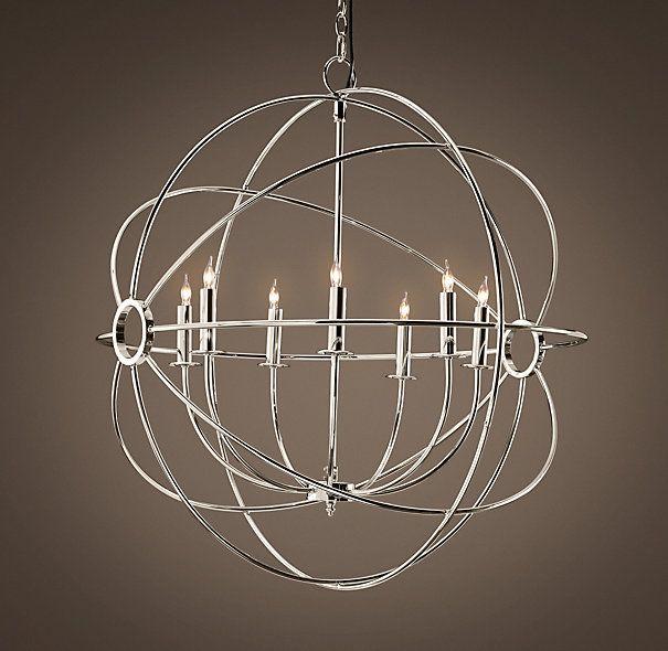 foucault 39 s orb chandelier polished nickel design bring