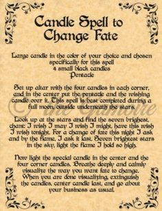 Candle Spell to Change Fate, Book of Shadows Spell Page, Witchcraft, Wicca, BOS