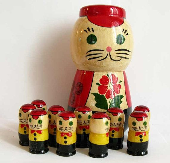 Russian Nested Doll Cats by RussianGift on Etsy,