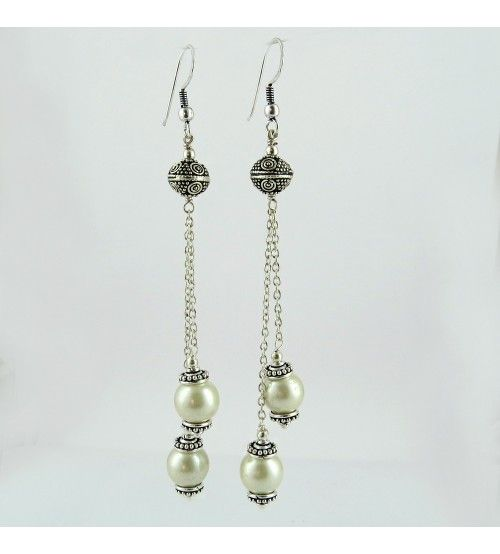 Honora Ming Oxidized Pearl 925 Sterling Silver Earring, Weight: 14.6 g, Stone - Pearl, Size - 10.5 x 1.0 cm, Wholesale Orders Acceptable, All Pieces have 925 Stamp
