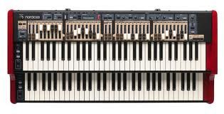 Nord's C2 organ sounded great, but people complained about the LEDs instead of real drawbars - so, Nord came out with a model with 2 sets of drawbars per manual,  just like the real B3.  Sounds great, lightweight, but pricy.
