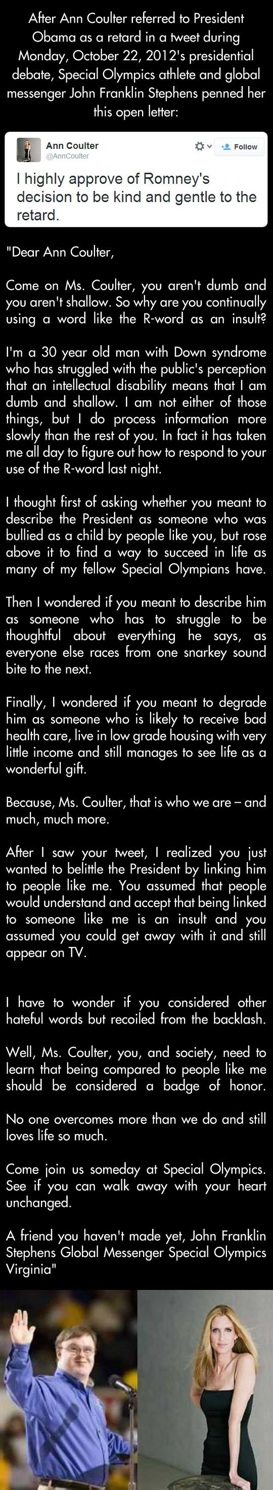 Special Olympics Athlete with downs syndrome writes to Ann Coulter after she calls the president a retard.