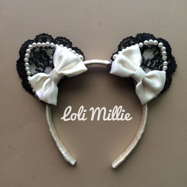 Keira Nekomimi Headband - Kawaii Cat Ears with Bows Sweet Lolita Hime Gyaru Dolly Cult Party Kei Ivory