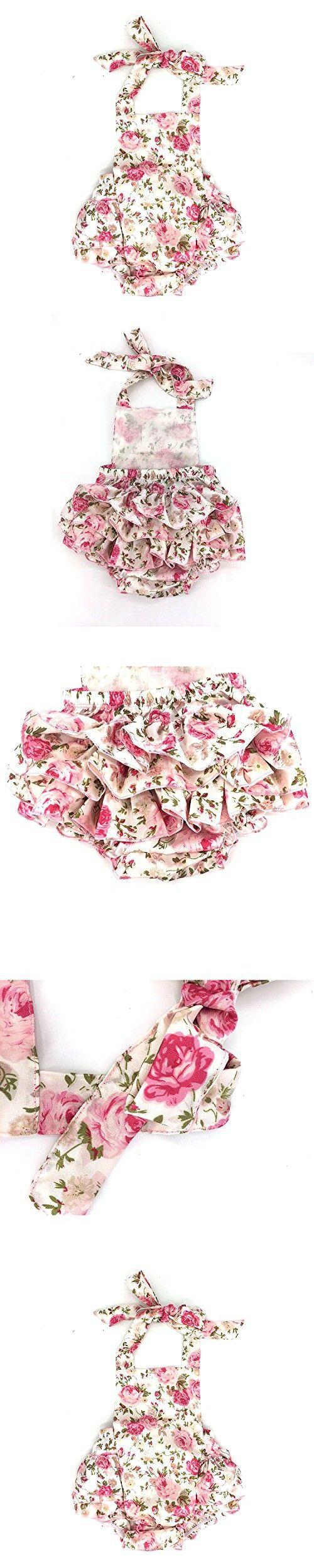 D.LIN Baby Girl's Ruffles Romper Dresses Summer Clothing