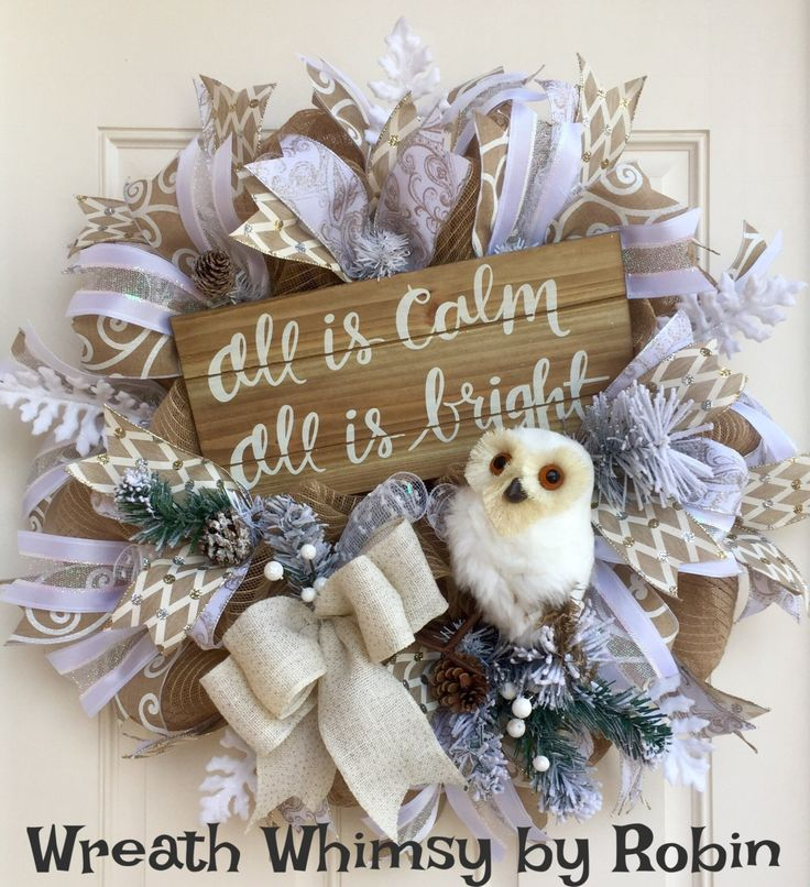 Cream & White Jute Mesh Winter Owl Wreath, Holiday Wreath, Christmas Wreath, Neutral Holiday Decor, Owl Decor, Front Door Wreath by WreathWhimsybyRobin on Etsy