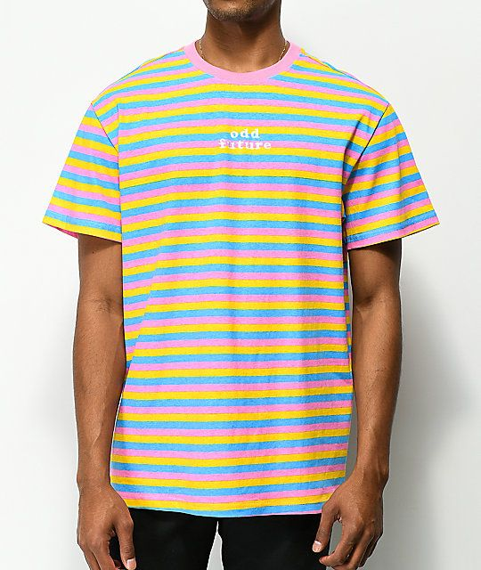 9a061bdabeb9 Odd Future OF Pink, Blue & Yellow Striped T-Shirt in 2019 | Received ...