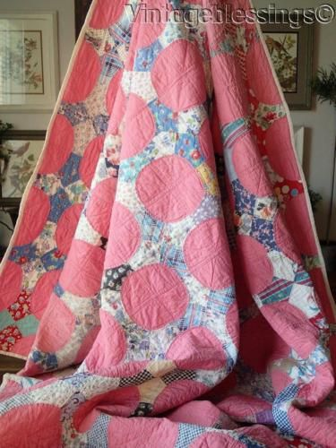 Beautiful-Vintage-1930s-Pink-Charming-Feedsack-Prints-QUILT