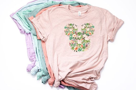 Watercolor Succulent Floral Mickey Shirt Disney World T Shirt