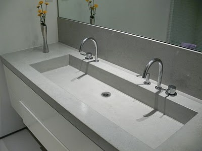 Trough sink cement and sinks on pinterest for Double sink countertop bathroom