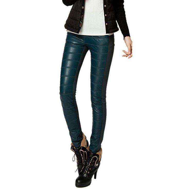 Plus Size XS-4XL Women Lederhosen New Slim Thickening Elastic Warm Capris Patchwork PU Leather Pants Female PU Casual Trousers