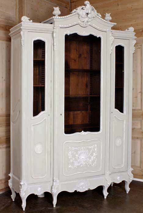 Antique Regence Triple Painted Display Armoire #antique #furniture #armoire  www.inessa.com