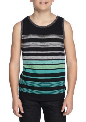 Ocean Current Green Stripe Tank Boys 8-20