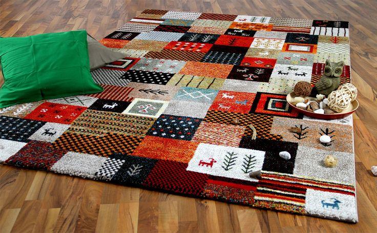 Designer Gabbeh Teppich Eyak Bunt Felder Teppiche Nepal, Gabbeh und Kelim Teppiche Moderne Gabbeh Teppiche
