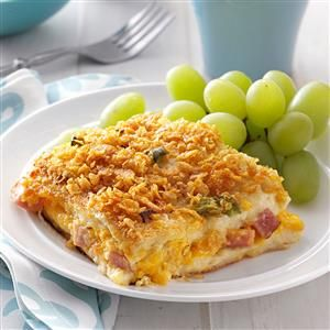 Ham 'n' Cheese Strata Recipe -Our daughter wouldn't mind if I made this Ham 'n' Cheese Strata every weekend! I do prepare it for each holiday, serving it alongside fresh cinnamon buns and a fruit salad. —Marilyn Kroeker, Steinbach, Manitoba