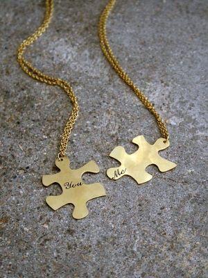 Puzzle piece necklaces.