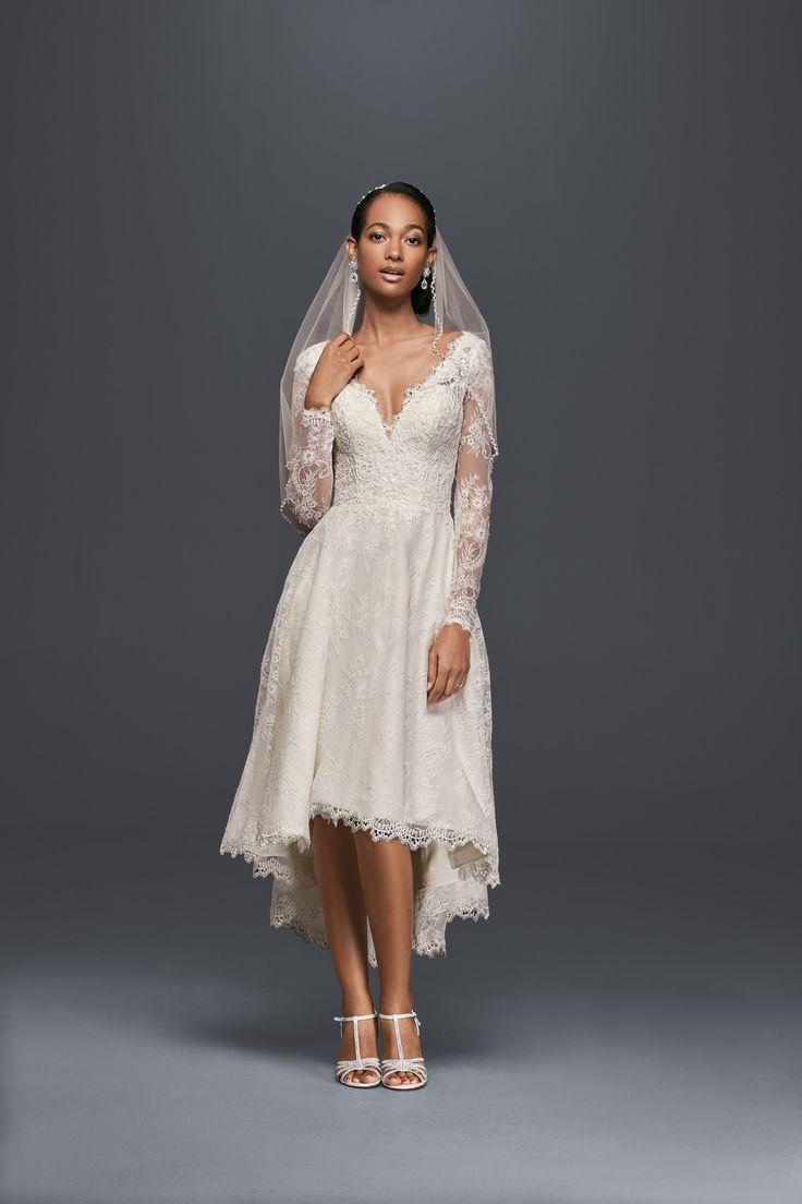 17 best images about oleg cassini wedding dresses on for Long sleeve high low wedding dresses