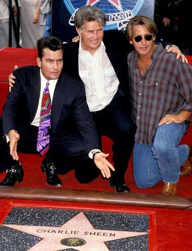 """Charlie Sheen, Father & Brother,  Charlie gets his Star, """"Hollywood Walk of Fame"""""""