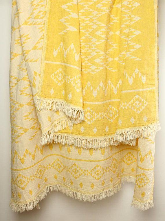Yellow Throw Blanket Bohemian Picnic Navajo Sofa Aztec Beach 100 Organic Cotton Coverlet Tribal