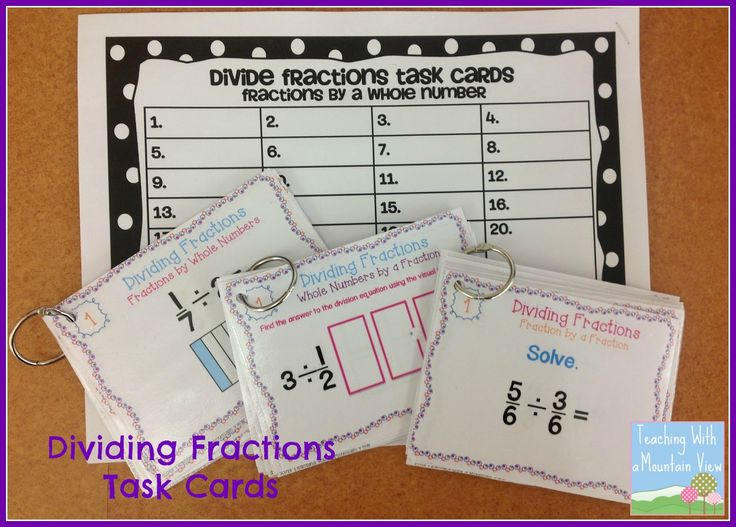 Dividing Fractions Anchor Chart, Game Freebie, Paid Task Cards, and Math Journal page for visual model