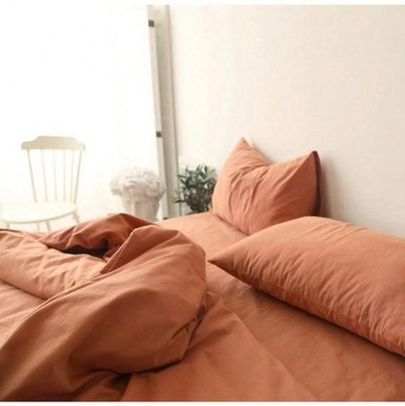 Ever Lasting Burnt Orange Bedding Set Queen King Twin Orange Etsy Orange Bed Sheets Queen Bedding Sets Orange Bedding