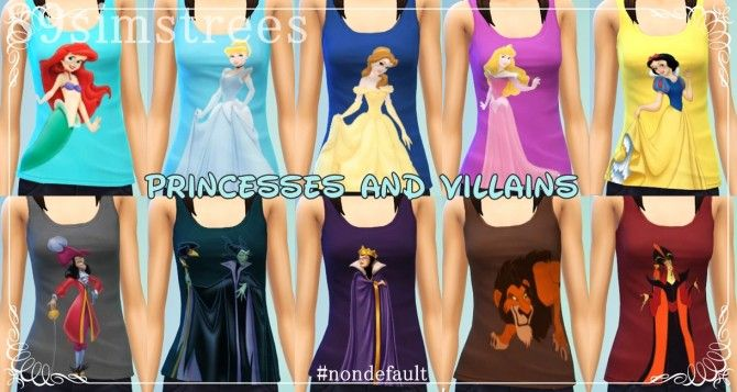 Disney Princesses and Villains tops at 89simstrees via Sims 4 Updates