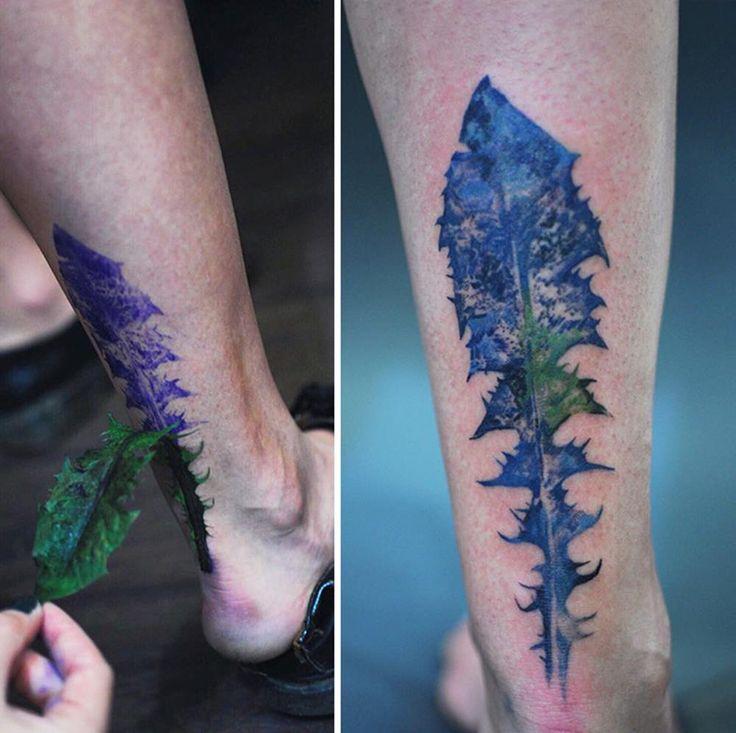 feuille sur l'arrière de la jambe