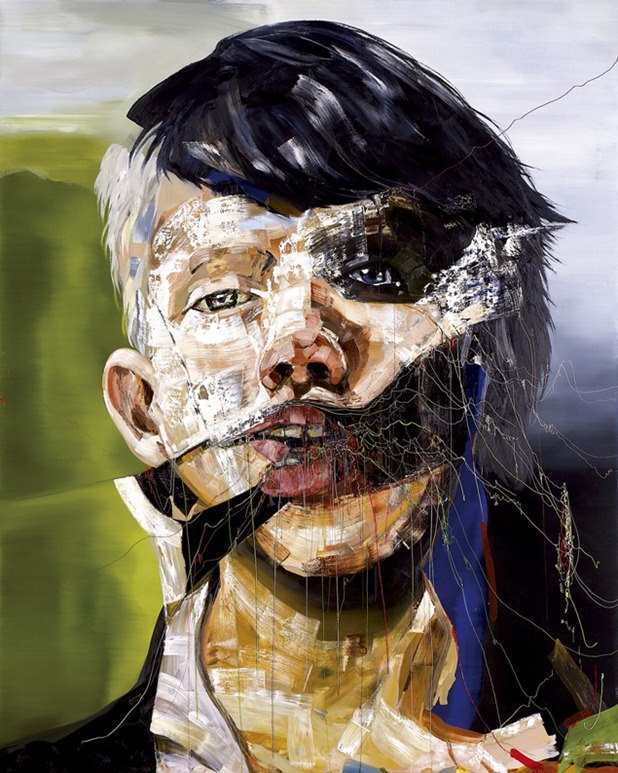 Japanese artist Marefumi Komura creates textured, expressive portraits with an arresting presence. With their faces obscured and mouths agape, the subjects appear in states of agony — Komura's loose, generous brushstrokes make them appear disfigured or swathed in gauze or fabric. http://hifructose.com/2013/02/28/marefumi-komuras-portraits-react-to-natural-disaster/