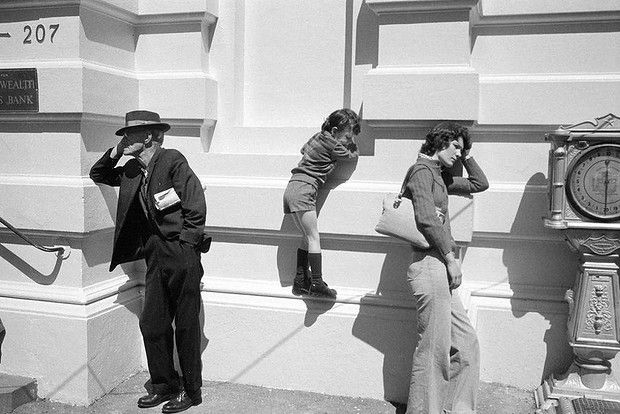 Outside South Melbourne Post Office, 1978.  'You're always looking for those patterns that people make. It was totally candid. If you tried to set it up it wouldn't be as good.'
