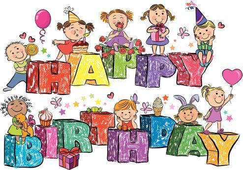 Feliz aniversário, em letras crianças - ilustração de arte em vetor