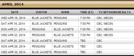 Columbus Blue Jackets @ Pittsburgh Penguins - round 1 playoff schedule thus far - 2014