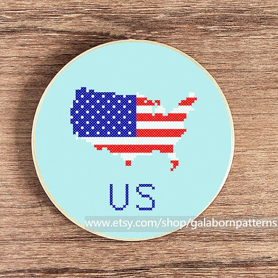 United States map PDF counted cross stitch by galabornpatterns