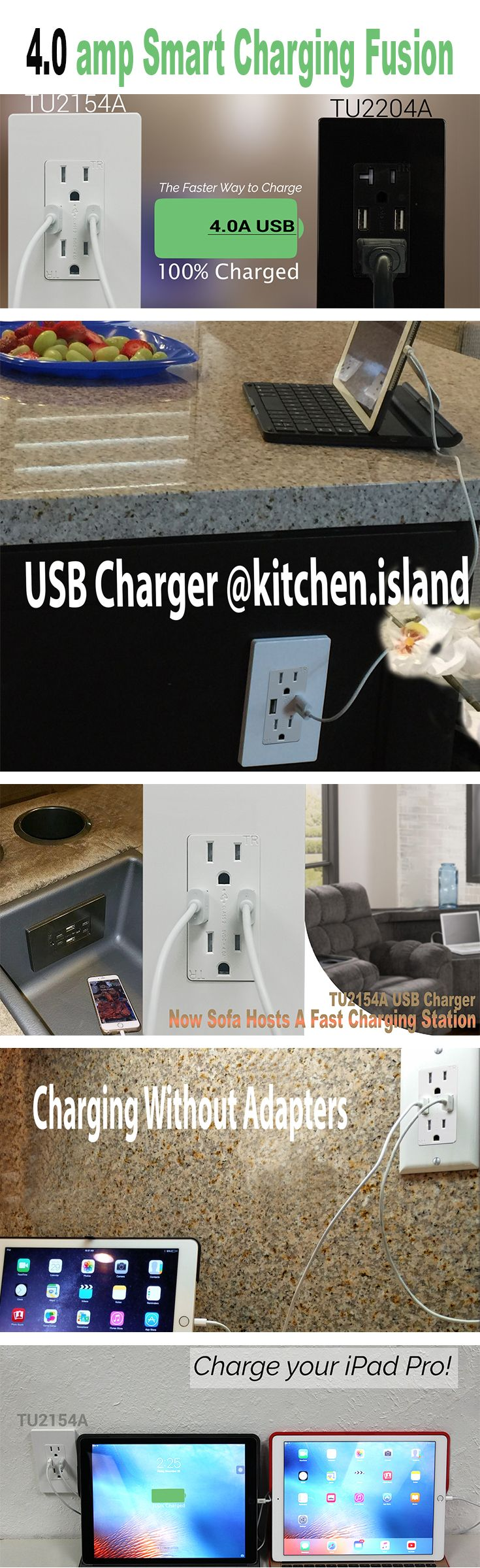 Charging has never been so convenience, fast and time saving! A smart chip enables TU2154A USB Charger Outlet to supply the power according to the device's need. Charging two devices same time. Ideal for living room, bedroom, kitchen counter top, kitchen island, home office, offices, walls at the corner, even sofa...