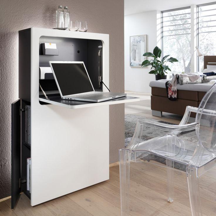 Der moderne und schmale Sekretär in weiß oder schwarz ist der ideal Schreibtisch! Er kann im Schlafzimmer, Wohnzimmer oder auch im Flur in Szene gesetzt werden!