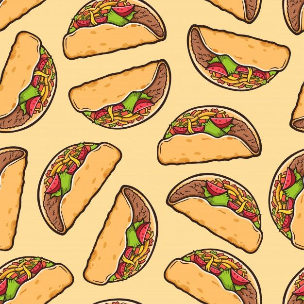 Taco Seamless Pattern Traditional Mexic Premium Vector Freepik Vector Background Pattern Food In 2021 Food Wallpaper Taco Wallpaper Traditional Mexican Food