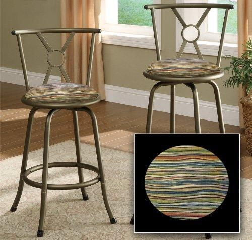 "4 New 29"" Bronze Finish Metal Bar Stools With Your Choice Of Padded Seat Cushion Theme! (Southwestern Chevron)"